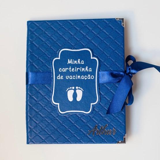 capa de carteira vacinação azul marinho