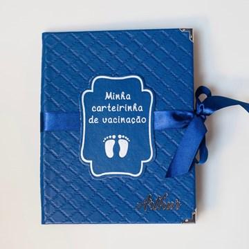 capa de carteira vacinação personalizada azul marinho