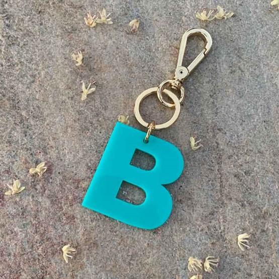 chaveiro e charm de bolsa 1 inicial bold azul turquesa