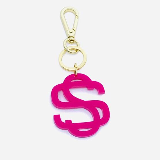 chaveiro e charm de bolsa monograma moderno pink