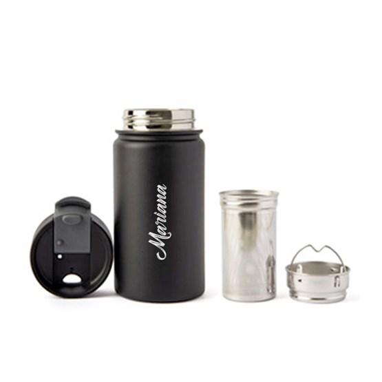 copo térmico personalizado com infusor preto