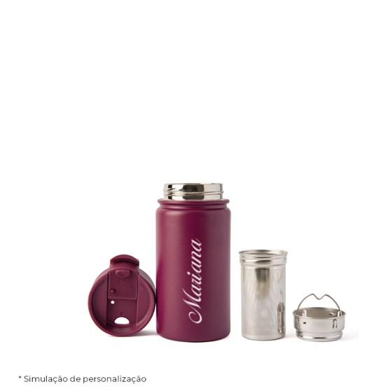 copo térmico personalizado com infusor vinho