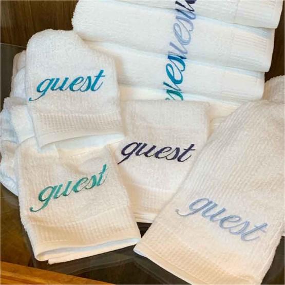 kit 4 jogos toalhas hóspedes personalizadas GUEST