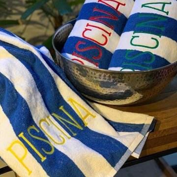 kit 5 toalhas PISCINA listradas personalizadas Artex