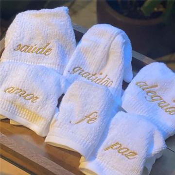 kit 6 toalhas de mão sentimentos
