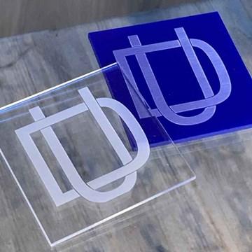 porta-copos azul royal quadrado personalizado