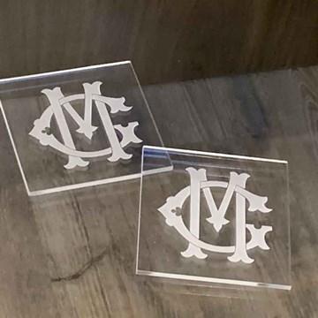 porta-copos cristal quadrado personalizado