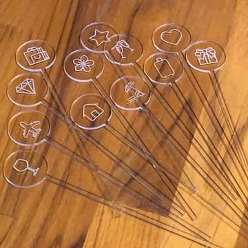 set 12 mexedores de drinks cristal emojis