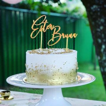 topo de bolo personalizado dourado
