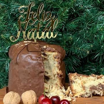 topo de bolo personalizado Feliz Natal acrílico dourado